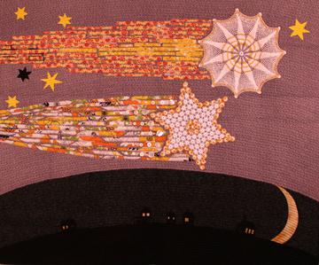 Crochet Comets, a TextileFusion wall hanging by Suzann Thompson
