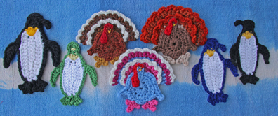 Crocheted Turkey and Penguin, by Suzann Thompson