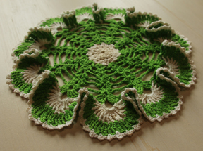 green and white doily by Sandi Horton