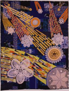 Art quilt Constant Comets, by Suzann Thompson, will be in the Celebrate Doilies exhibit, July-September 2017