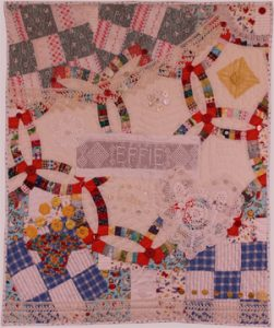 Art quilt Hope Chest, by Suzann Thompson, features vintage crochet and will be in the Celebrate Doilies exhibit, July-September 2017.